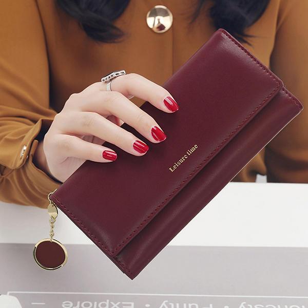 Women Fashion Phone Bag Artificial Leather Multi-functional Long Wallet 9 Card Slots Clutch Bag