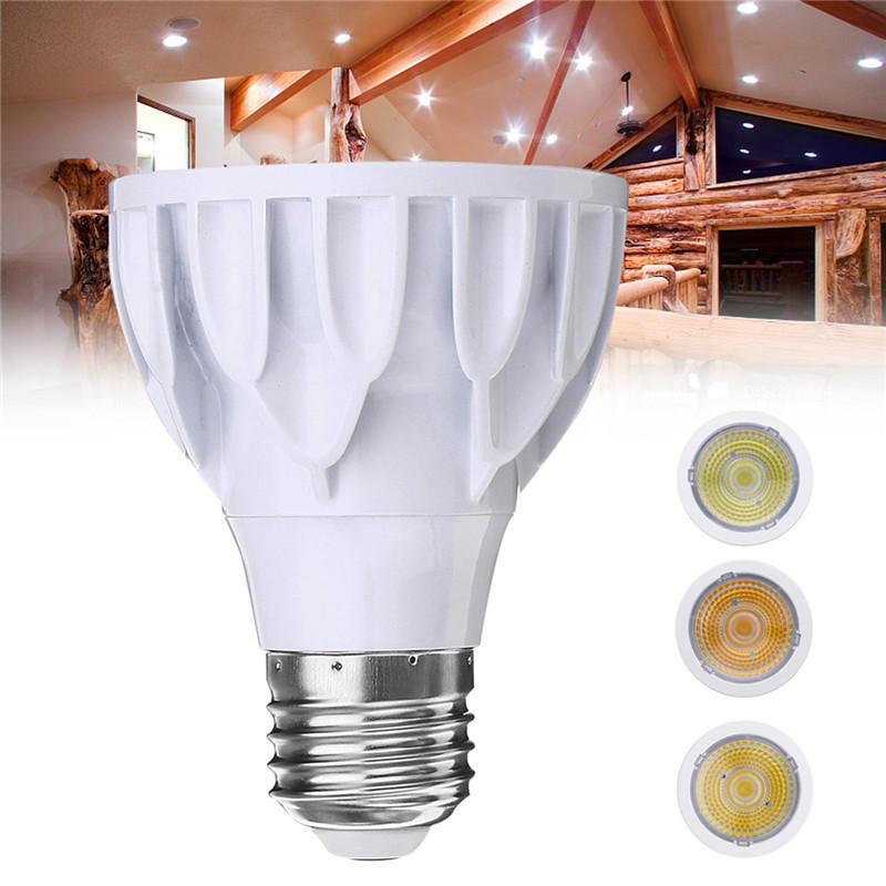 E27 7W Dimmable Par 20 LED COB White Shell Spot Light Bulb Lamp for Home Decoration AC110V