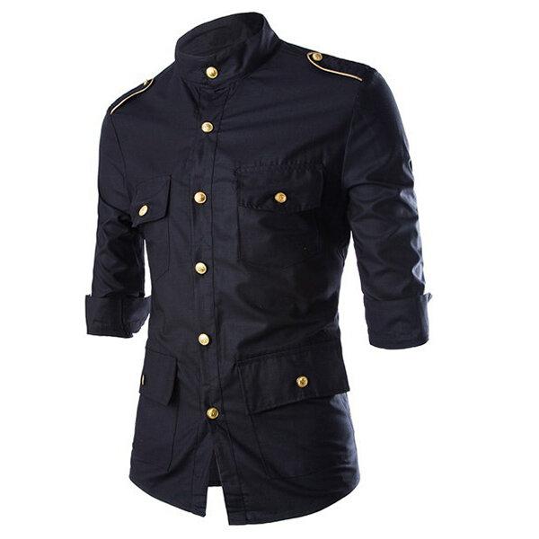 Militär Uniform Officer Style Fashion Slim Tre Quarter Ärm Golden Epaulet Button Men Shirts