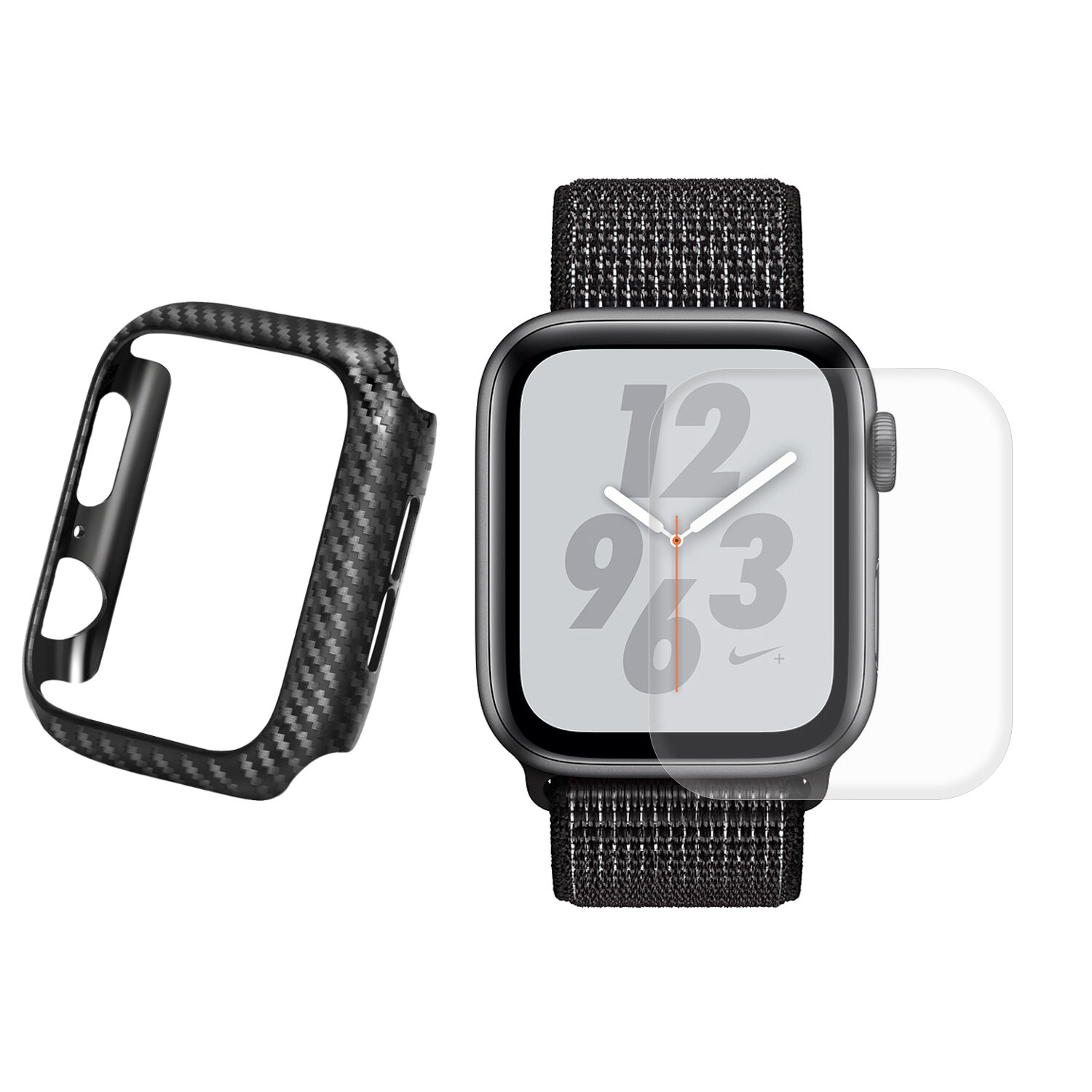 Enkay Carbon Fiber Watch Cover+3D Curved Edge Hot Bending Watch Screen Protector For Apple Watch Series 4 40mm