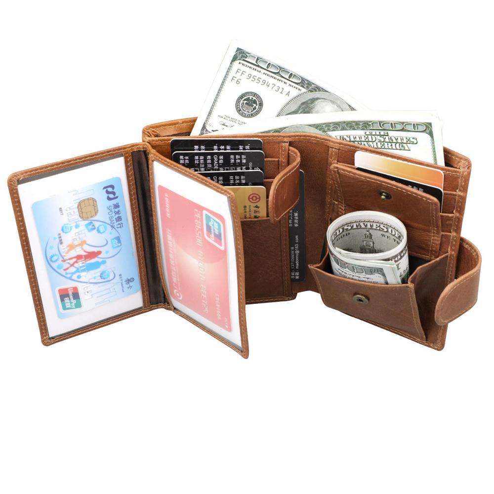 Men RFID Genuine Leather Vintage Short Wallet Card Holder