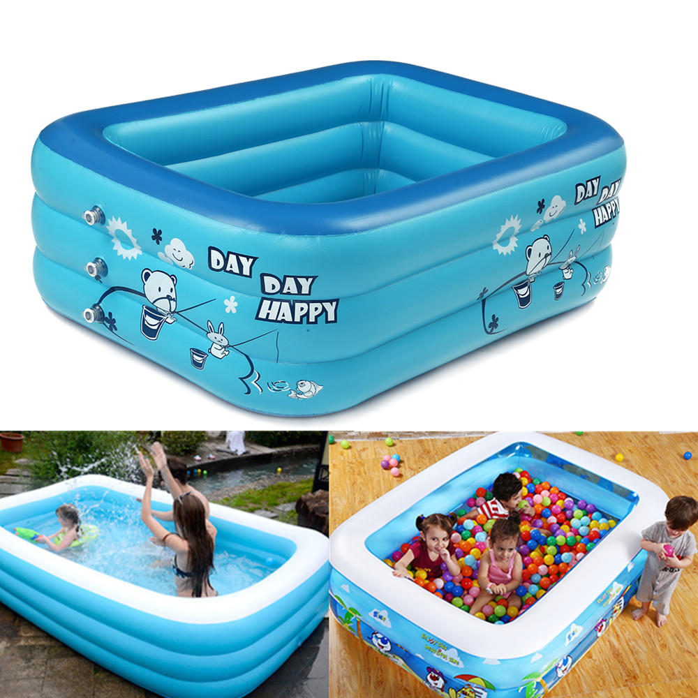 180cm Espesar Natación inflable Piscina Rectángulo Bebé Niños Square Bathing Tub 3 Layer Piscina Summer Water Fun Play Toy