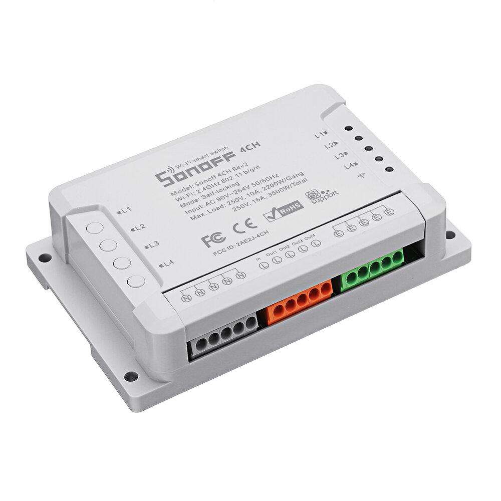 SONOFF® 4CH R2 4 Saluran 10A 2200W 2.4Ghz Rumah Pintar WIFI Saklar Nirkabel APP Remote Control AC 90V-250V 50 / 60Hz Din Rel Pemasangan Modul Otomasi Rumah