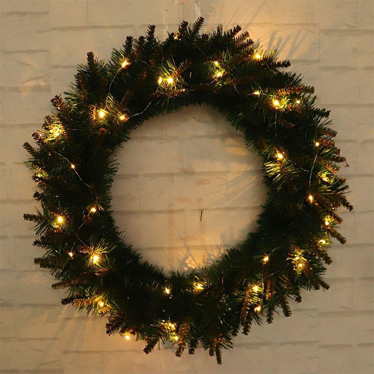 Đèn LED ánh sáng Giáng sinh Vòng hoa Cây treo tường Cửa treo Đảng Trang trí vòng hoa