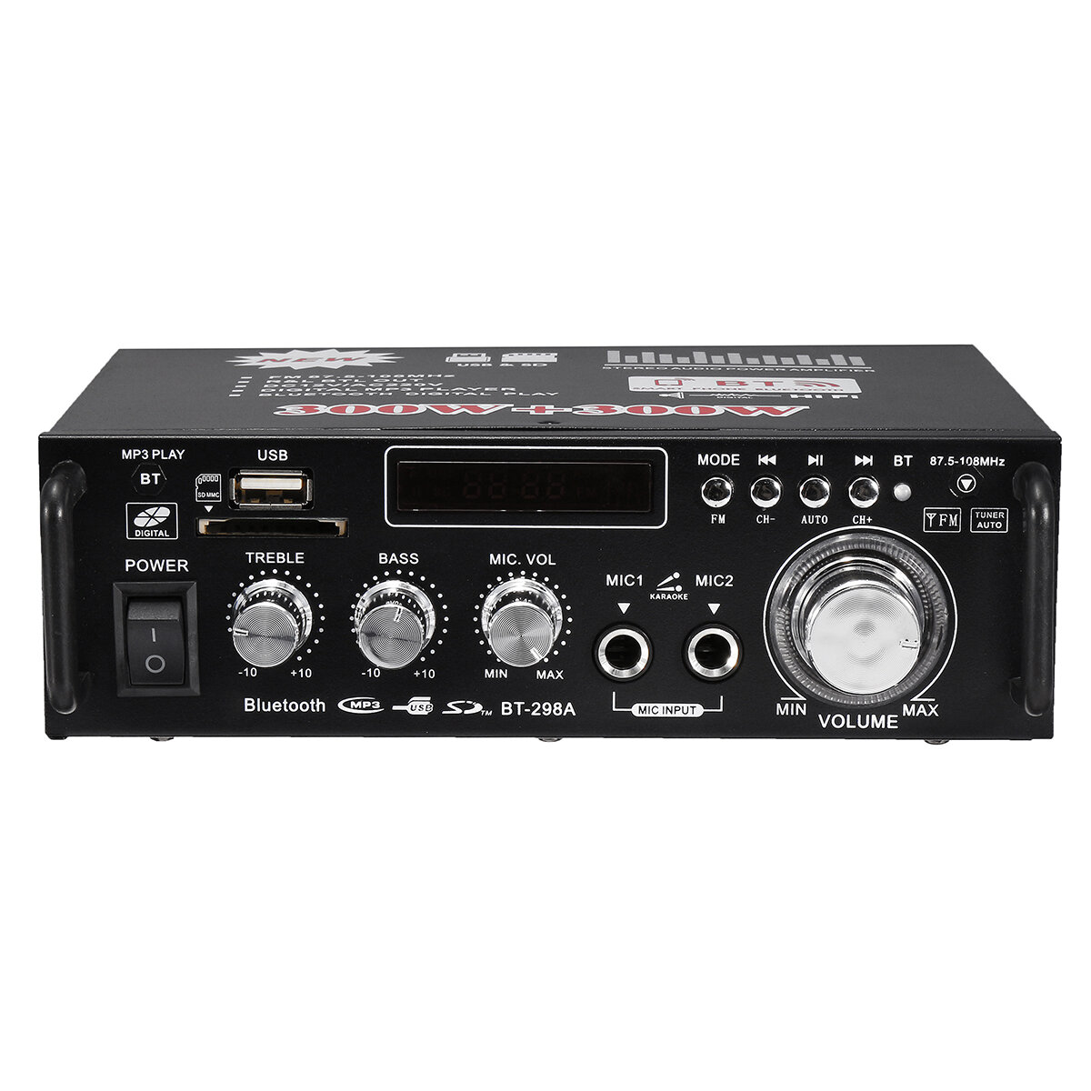 BT-298A 12V 220V HIFI Audio Stereo Power Amplifier bluetooth FM Radio 2CH 600W