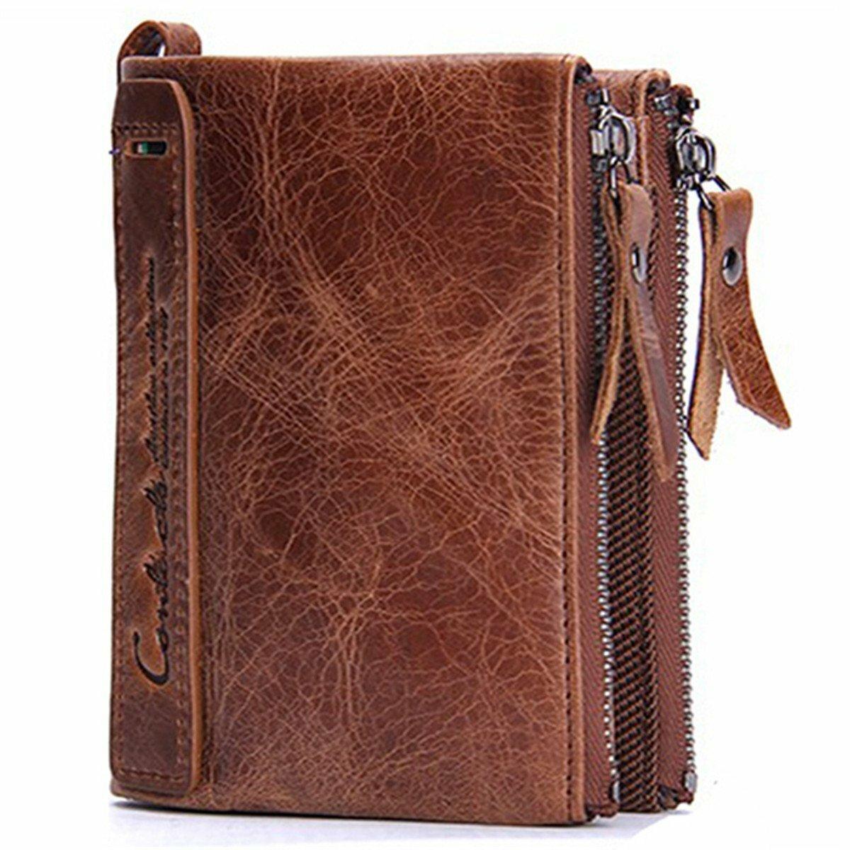 Men Genuine Leather Bifold Hasp Multi-Card Slot Card Holder Retro Double Zipper Pocket Coin Purse Short Money Clip Walle