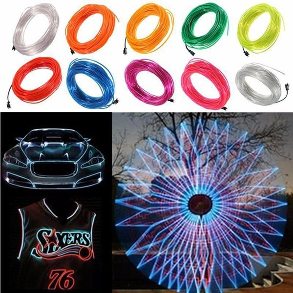 20M EL Led Flexible Soft Tube Wire Neon Glow Car Rope Strip Light Xmas Decor DC 12V