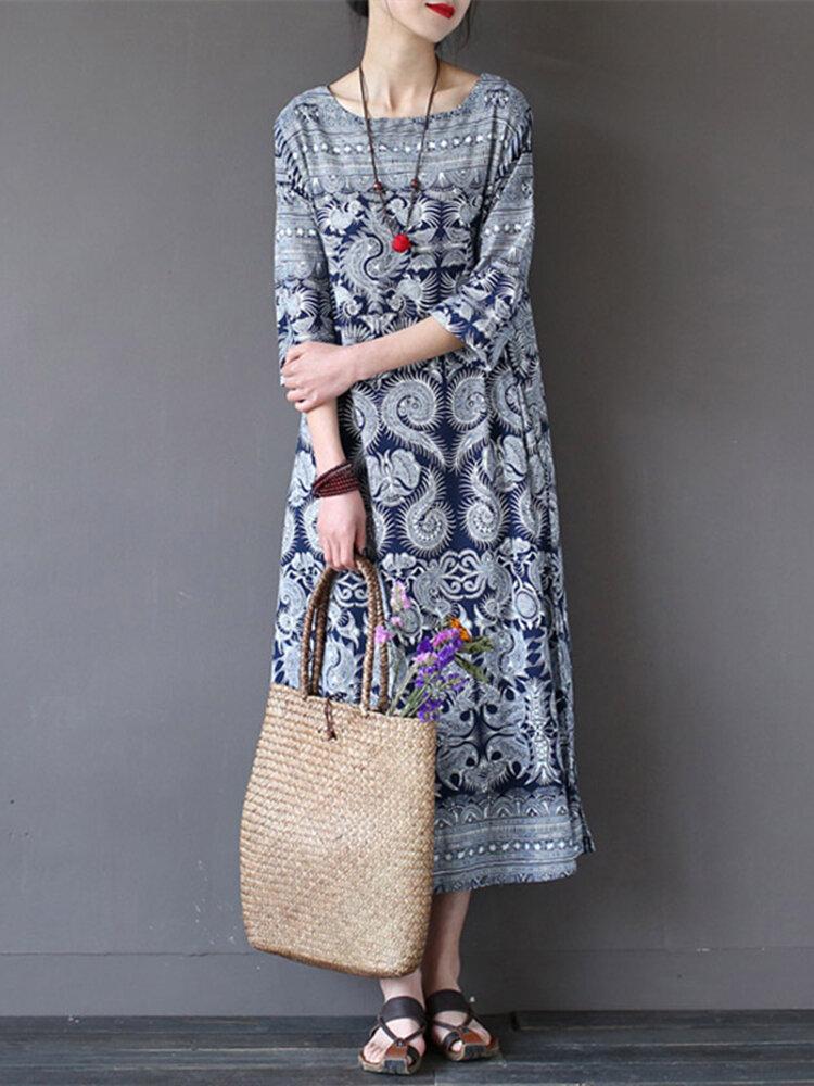 Women Loose Retro Printing 3/4 Sleeve Maxi Dress