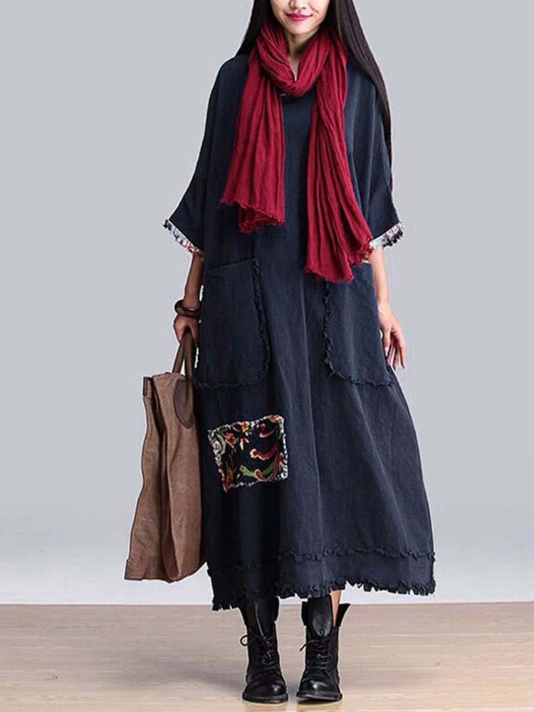 सुरुचिपूर्ण महिला पुष्प पैच Tassels तीन तिमाही आस्तीन ओ-गर्दन ए लाइन पोशाक
