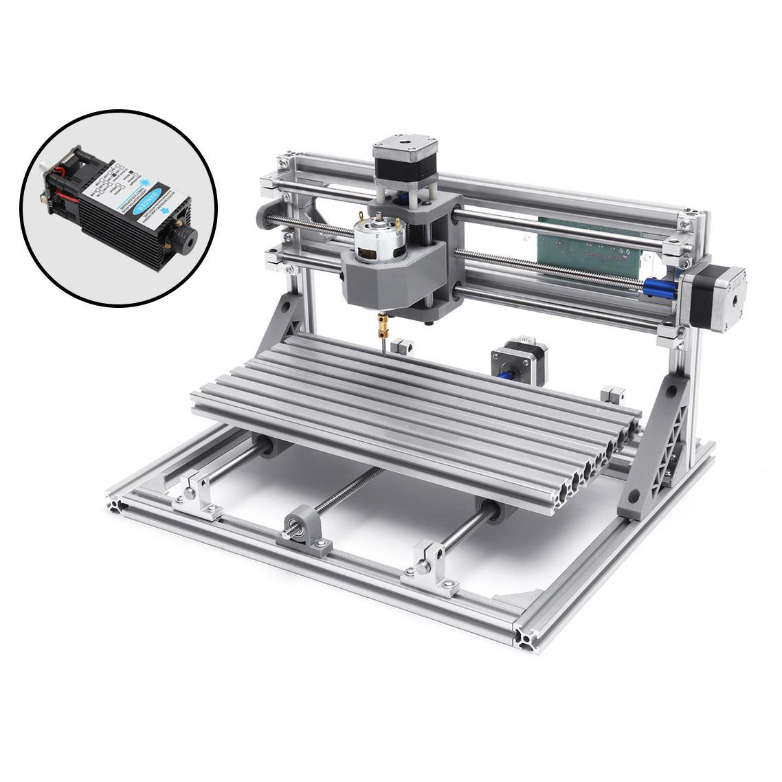 3018 3 Axis Mini DIY CNC Router w/ 2500mW Laser Module Wood Engraving Cutting Milling Engraver Machine