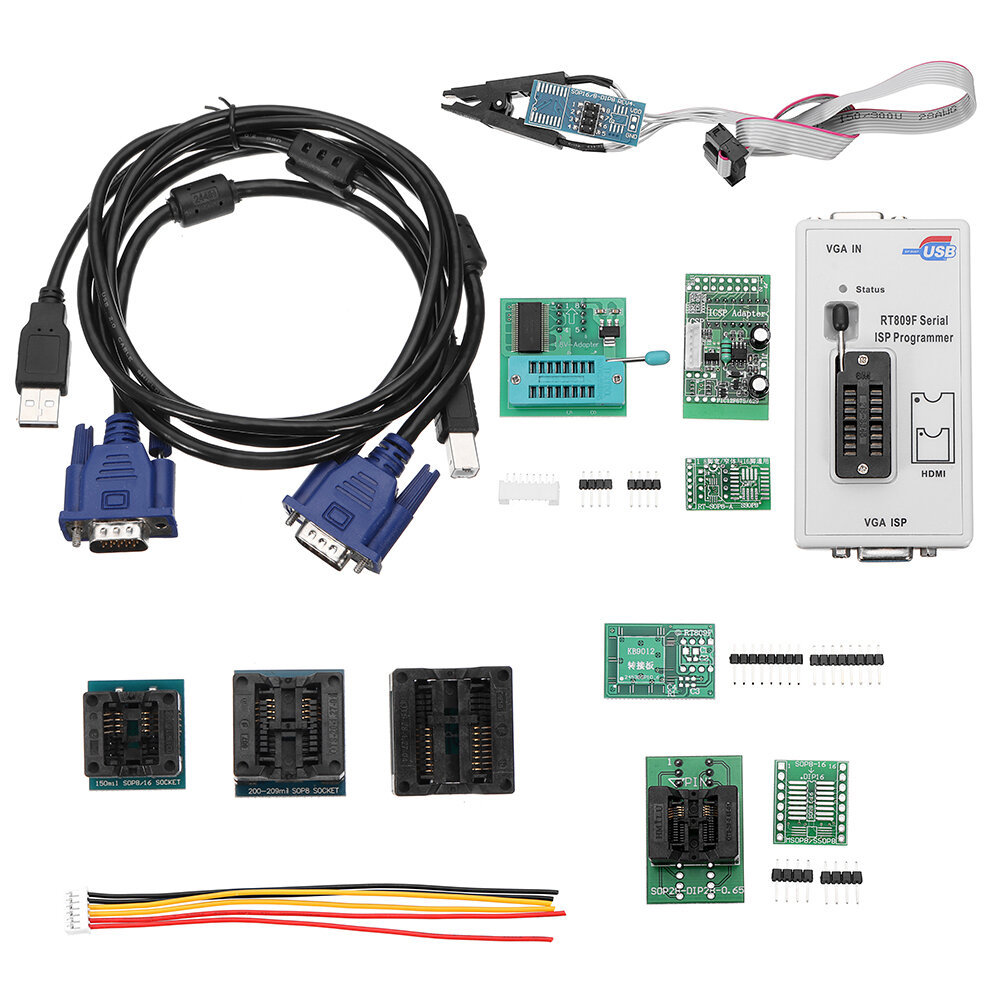 RT809F LCD Display ISP Programmer With SOP8 Test Clip 1.8V Adapter on