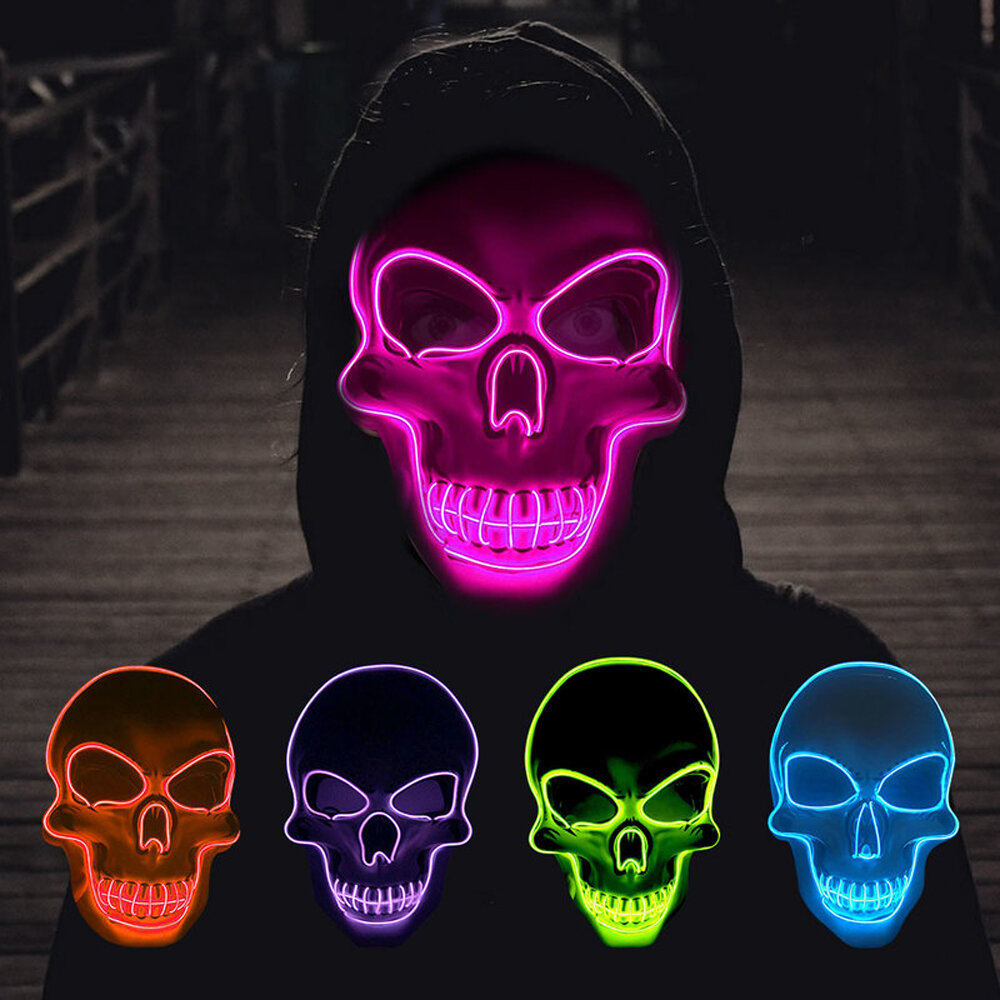 Halloween Skeleton Mask LED Scary EL-Wire Mask Light Up Festival Cosplay Costume Supplies Party Mask
