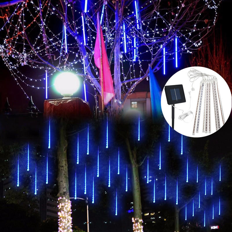 Solar Powered 30cm 8 Tube LED Meteor Shower Rain Garden Tree Outdooors HoliDay Light