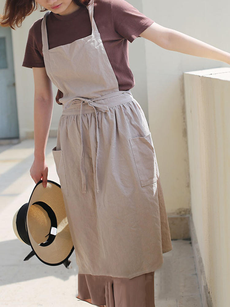 5acf0f07d Women Vintage Japanese Style Cotton Linen Aprons Dress with Pockets