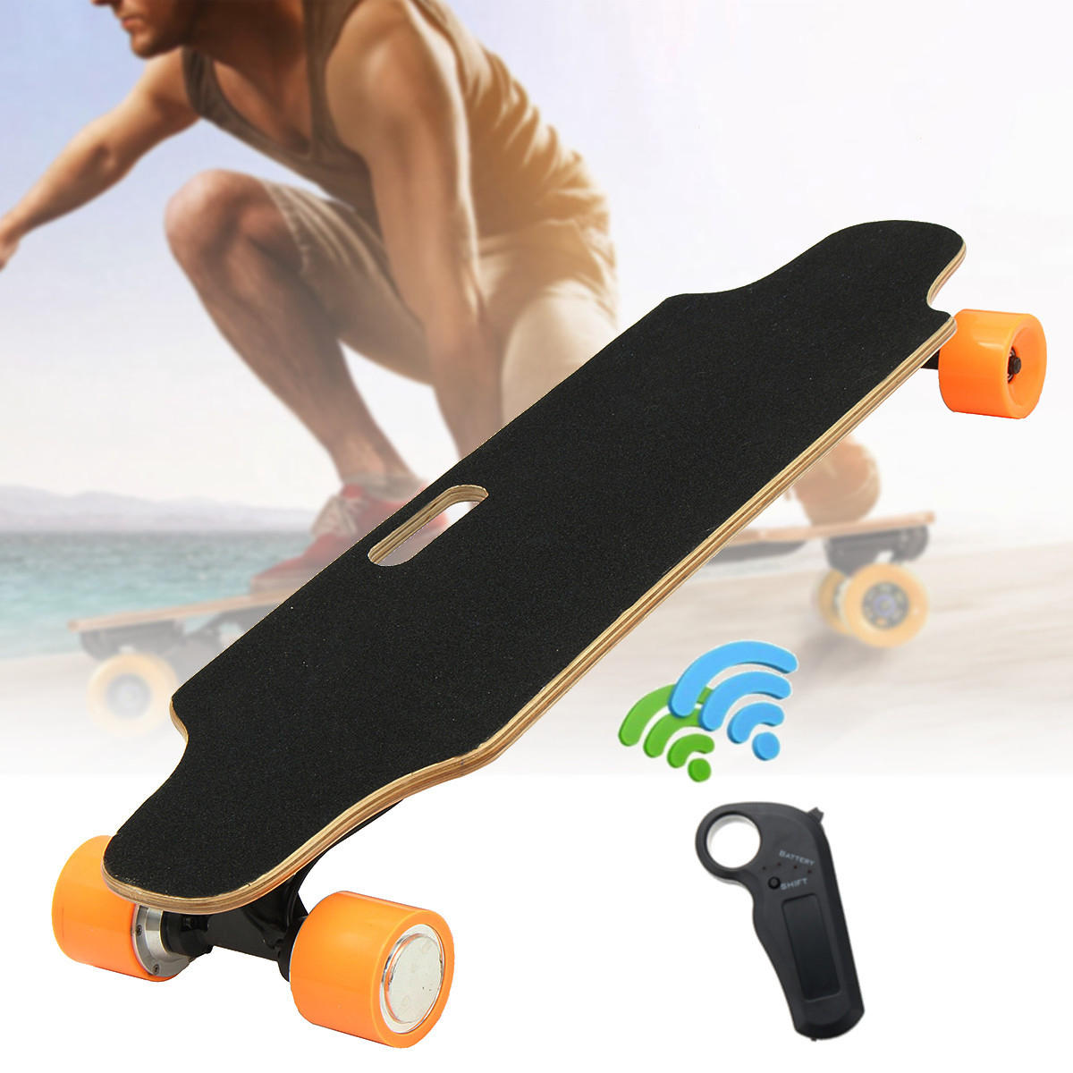 Remote Control Skateboard >> Alfas 250w 15km H Electric Skateboard Scooter Remote Control Longboard 7 Layer Maple Board Shock Proof Board