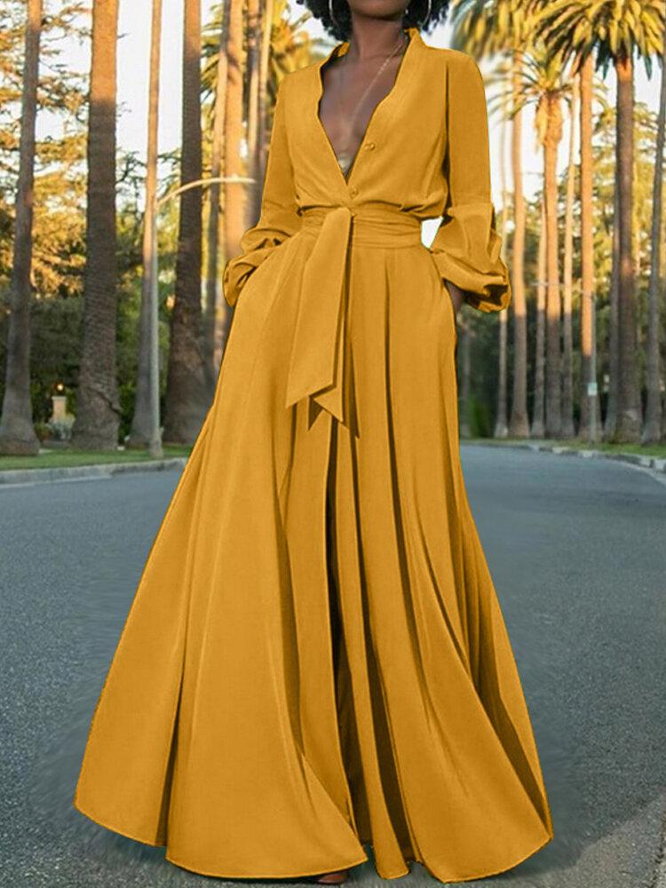 Long Sleeve V-neck Tie Waist Button Split Casual Maxi Shirt Dress