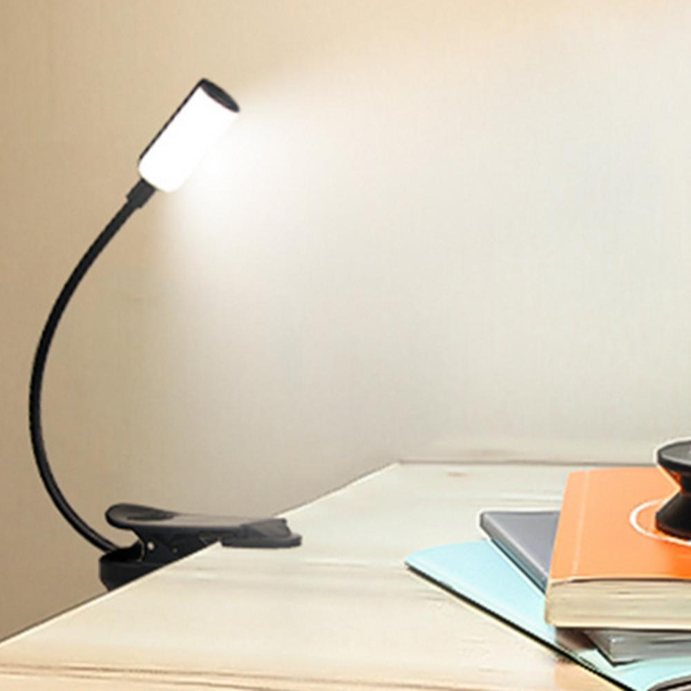 Flexible 1w Led Usb Rechargeable Clip Desk Table Light Book Reading Laptop Stand Lamp