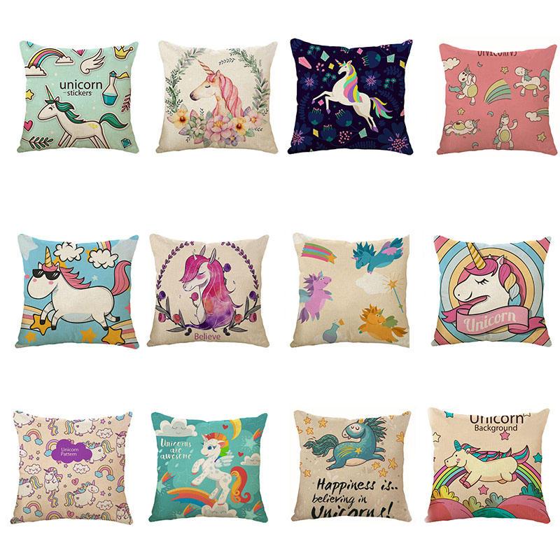 Honana 45x45cm Home Decoration Cartoon Unicorn Animal Square 12 Optional Patterns Cotton Linen Pillowcases Sofa Cushion Cover Chair Seat