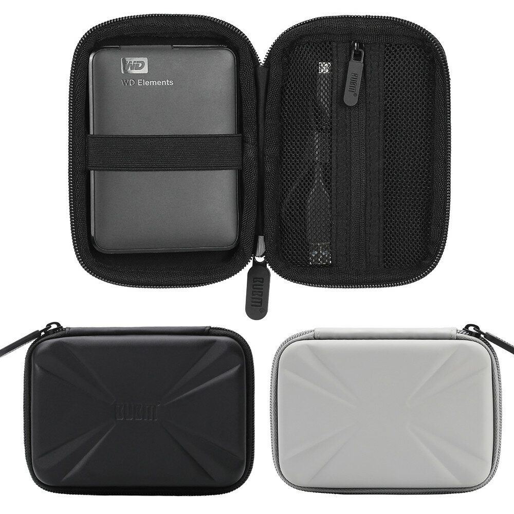 BUBM Electronic Equipment Storage Travel Bag Carry Storage Anti-Shock Protection Case for 2.5 Inch Portable HDD Hard Disk External USB Flash Drive Cable