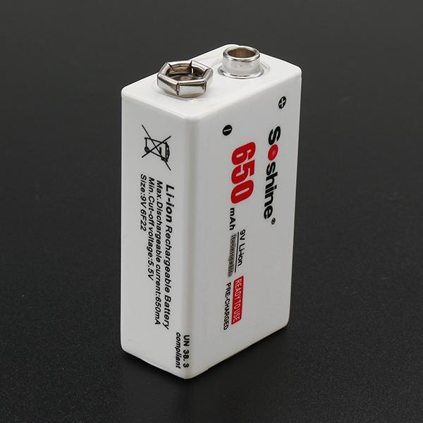 Soshine 9V 650mAh 7.4Vリチウムイオン二次電池(収納ケース付)