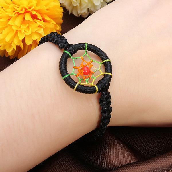 Cute Colorful Leather Indian Dream&Catcher Bracelet Adjustable