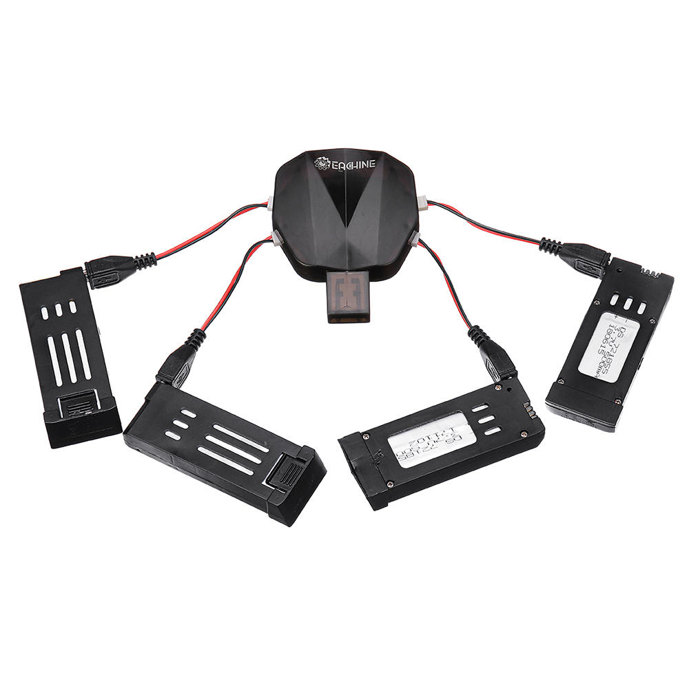 Eachine 4-in-1 USB Charger with 4Pcs 3.7V 500MAH Lipo Battery Charging Cable for E58 E010 X5C H107L