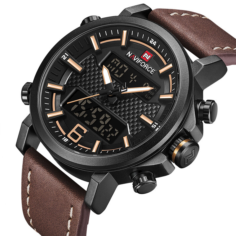 aec3d4062c NAVIFORCE 9135 Dual Display Digital Watch Luminous Display Alarm Calendar  Outdoor Sport Watch
