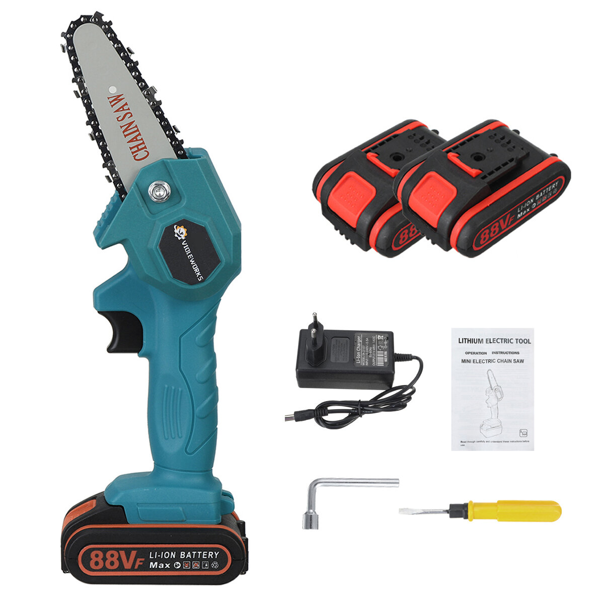 VIOLEWORKS 4 Inches 88VF Cordless Electric One-Hand Saw Chain Saw Woodworking Cutting...