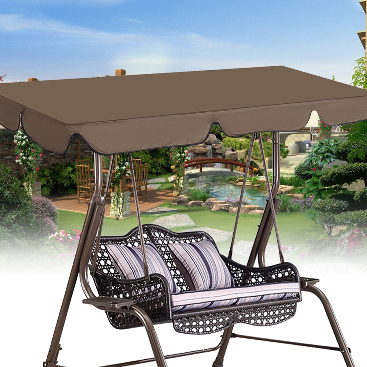 Cubierta superior de silla giratoria de 190x132 cm Cubierta Impermeable al aire libre cámping Cubierta de repuesto