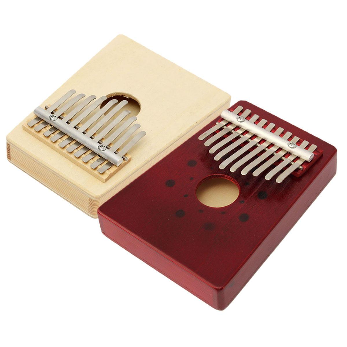 10 percussioni di percussioni per pianoforte a pedale Kalimba in legno portatile a colori tono rosso / naturale
