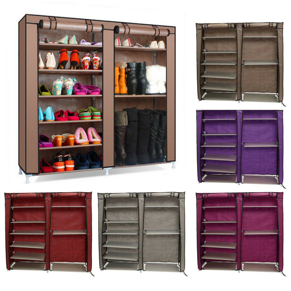 6 Tier Covered Shoes Rack DIY Storage Shelf Tidy Organizer Cabinet Closet Stand Dustproof  Cupboard