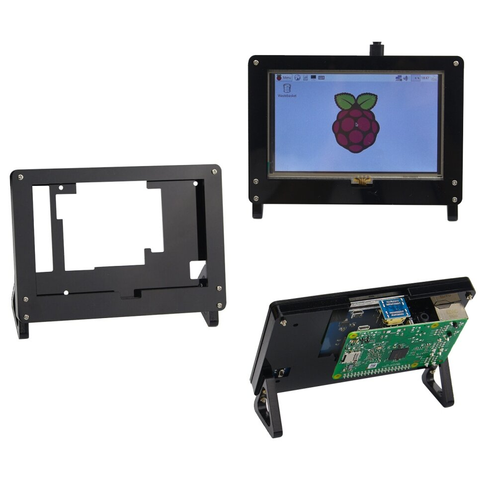 5 Inch LCD Screen Display Acrylic Case Stander Holder For Raspberry Pi 3B+(Plus)