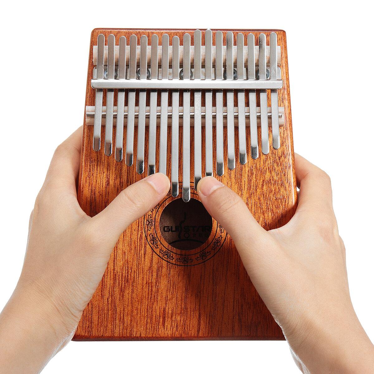 17 Keys Wood Kalimbas Mahogany Thumb Piano Finger Percussion With Tuning Hammer