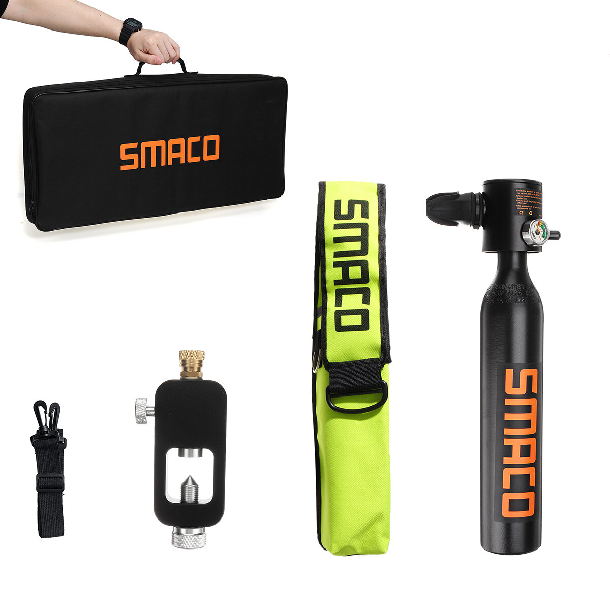 SMACO 0.5L Oxygen Cylinder Mini Scuba Diving Air Tank Pump Respirator Adapter Diving Kit