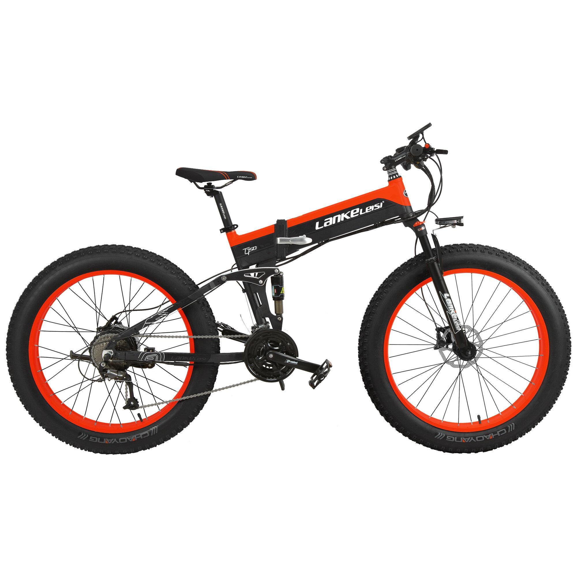 LANKELEISI XT750PLUS 12.8Ah 48V 1000W 26Inch Moped Electric Bike Folding Bike 80Km Mileage Max Load 120kg With EU Plug