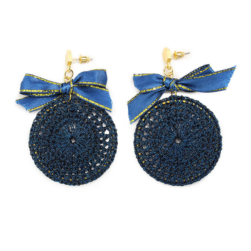 Ethnic Bowknot Round Plate Charm Dangle Earrings Braided Vintage Piercing Stud Earring for Women