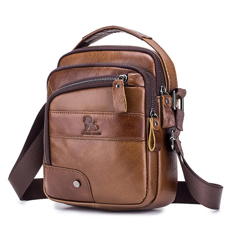 Men Genuine Leather Bag Multi-layer Cowhide Crossbody Bag