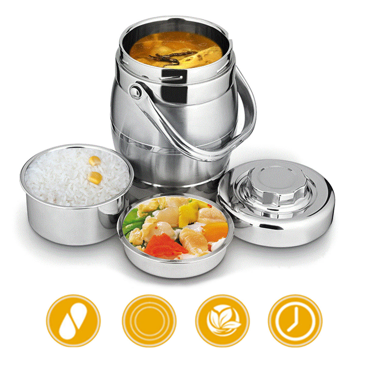 7ca6b0cd51fb 1.6L/2L Thicken Stainless Steel Insulation Barrel Leak-Proof Bento Lunch Box