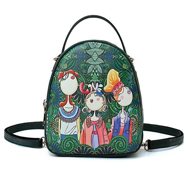 Women Faux Leather Forest Printed Pattern Backpack Shoulder Bag Crossbody Bag