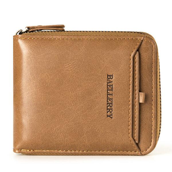 Baellerry Men Vintage PU Leather Short Zipper Card Holder Wallet For Men  - buy with discount