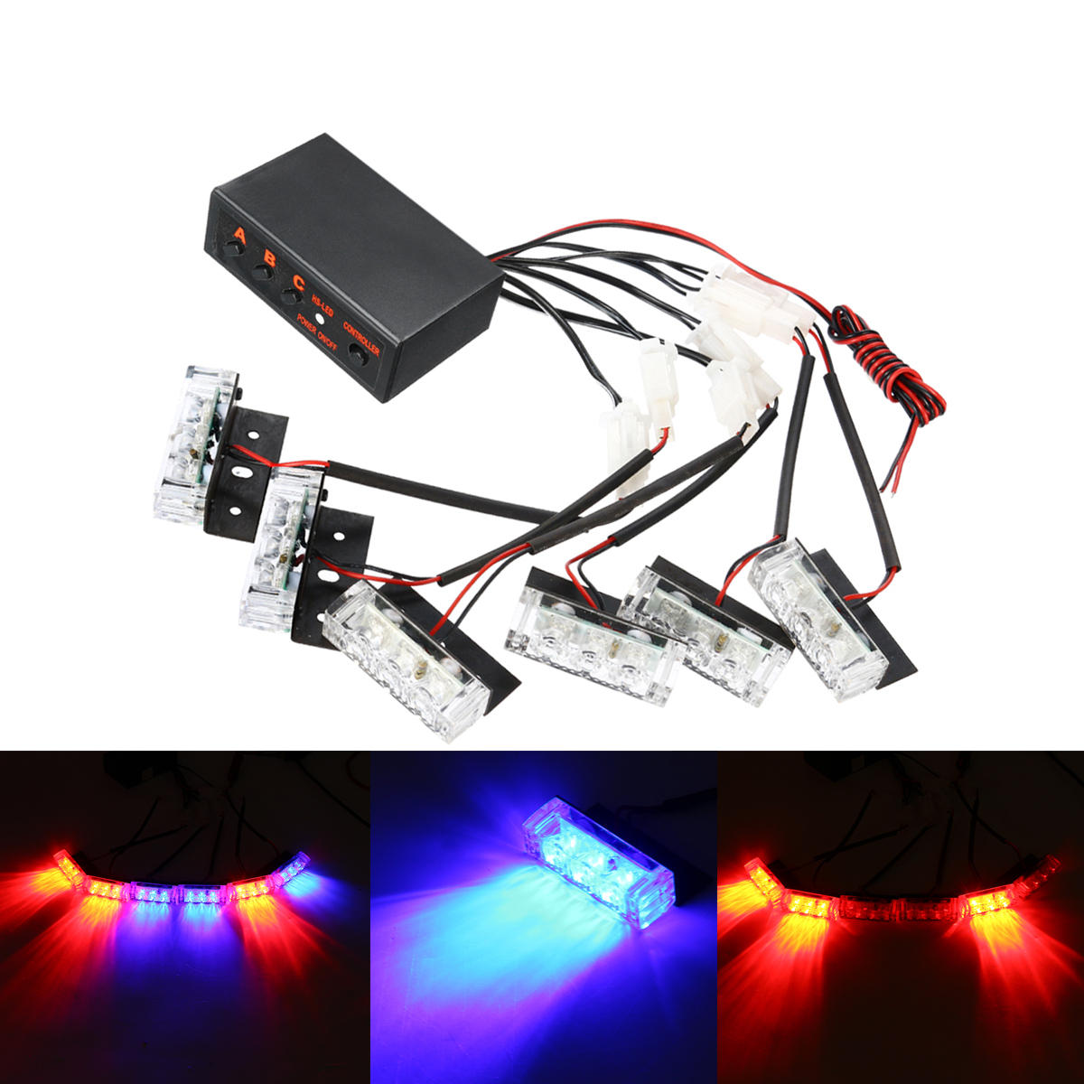 12v Led Red Blue Strobe Flash Lights