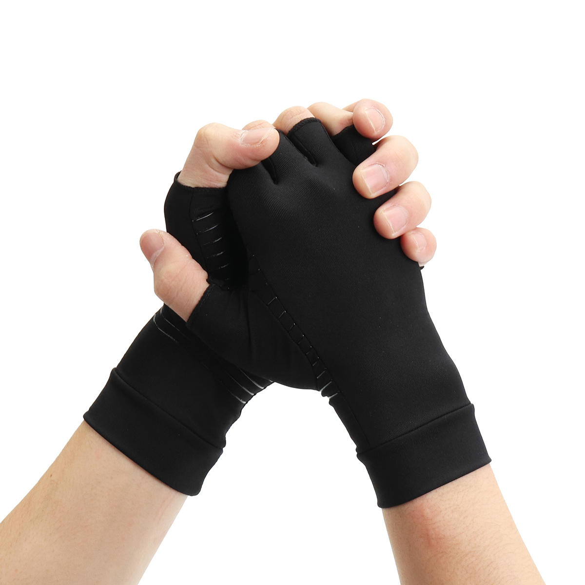 1 Pair Half Finger Gloves Anti Arthritis Copper Pain Relief Glove Hand Protection Training Protector