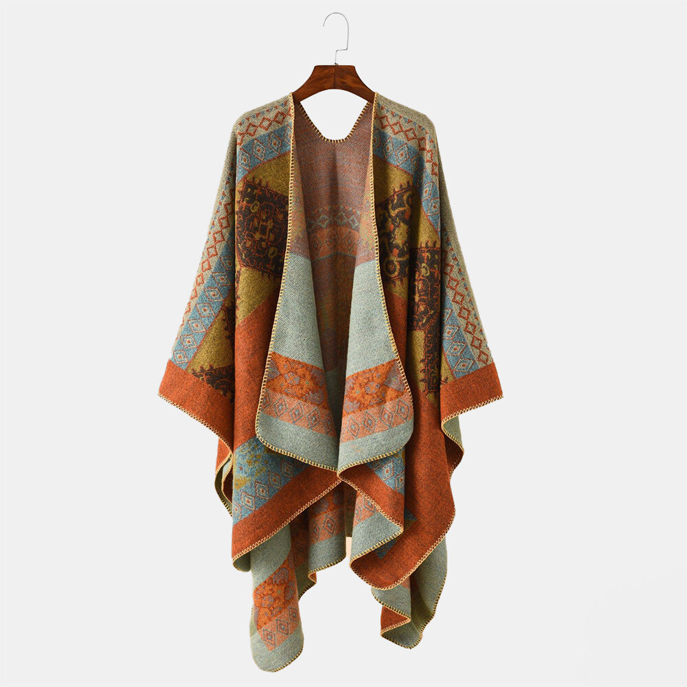Women Artificial Cashmere Long Colored Grid Pattern Winter Outdoor Warm Big Shawl