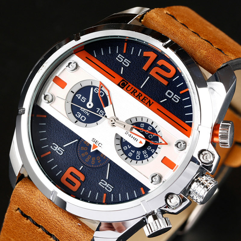 CURREN 8259カジュアルクォーツ時計ラバーバンドミリタリーアナログレザークォーツ腕時計