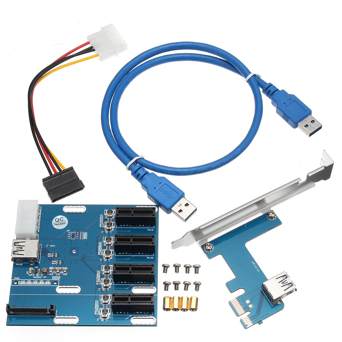 USB Cable cd PCI-e Express 1X to 3 Port 1X Switch Multiplier HUB Riser Card