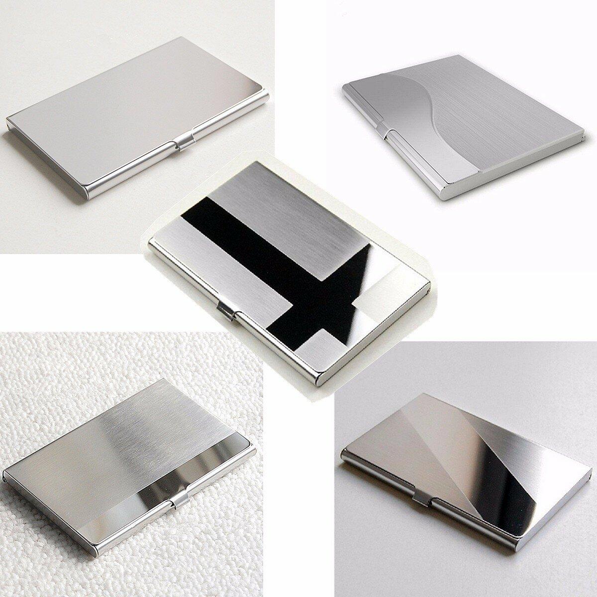 Stainless Steel ID Bisnis Kartu Kredit Pemegang Kartu Nama Dompet Kotak Saku Logam Pemegang Kasus