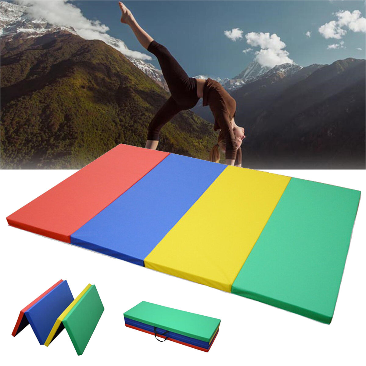70x47x1.97inch Folding Gymnastics Panel Gym Exercise Yoga Pad Tumbling Fitness Mat