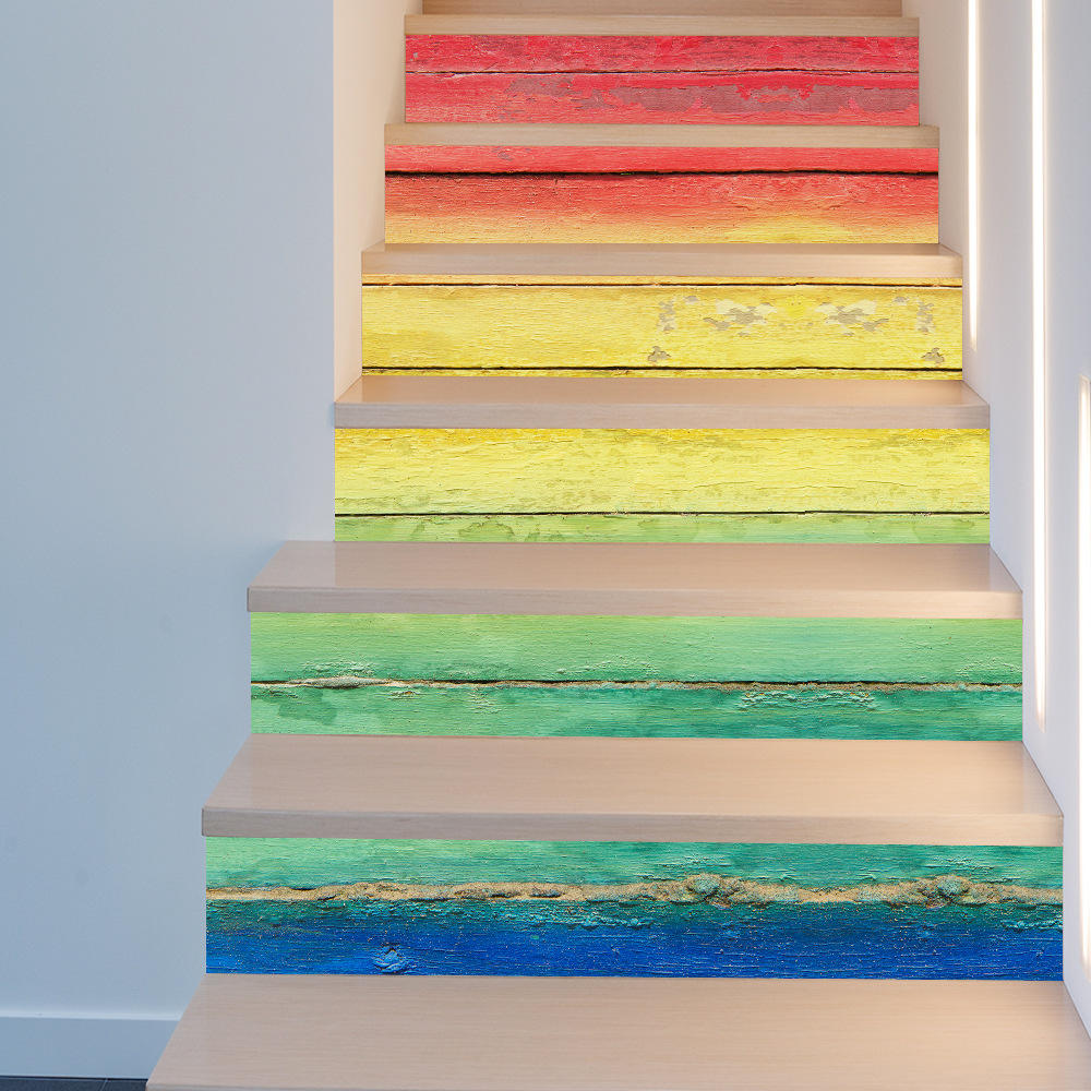 Miico Rainbows Pattern Creative Stair Sticker Home Decor Mural Art Removable Wall Decals