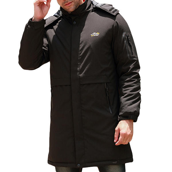 Mens Mid-long Hooded Parka Solid Color Warm Thick Outdoor Jacket