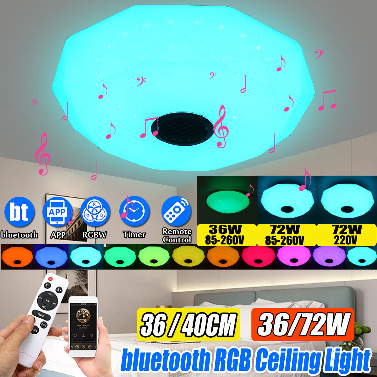 LED Panel Lamp Ceiling Light Remote Control APP RGB Bluetooth Music Smart Ceiling Light, Banggood  - buy with discount
